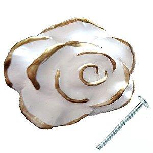 Puxador Provençal Rosa Branca com Dourado