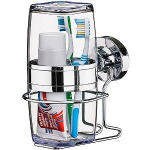 Suporte Porta Escova de Dente e Creme Dental Fixação Ventosa Cromado 4015