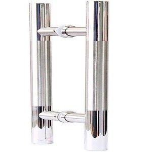 Puxador Duplo Inox Níquel De Madeira/vidro 400mm