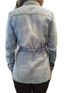 3ef72440a8 Jaqueta Jeans Feminina Destroyed Com Cordão - Azul Claro zoom