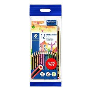 Bônus Pack Lápis de Cor Noris Colour 185 Staedtler + 1 lápis HB + 1 Borracha