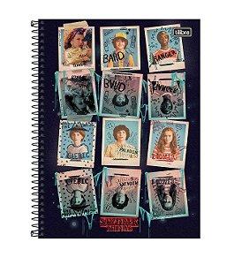 Caderno Espiral CD Universitário 1 Matéria Stranger Things 80 Fls Retratos Tilibra