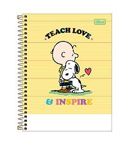 Caderno Espiral CD Colegial 1 Matéria Snoopy 80 Folhas Teach Love Tilibra
