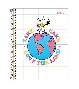 Caderno Espiral CD Colegial 1 Matéria Snoopy 80 Folhas Take Care Tilibra