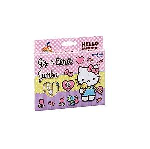 Giz de Cera Jumbo Hello Kitty 12 cores Mod.2 Molin
