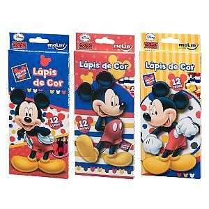 Lápis de Cor 12 cores Mickey Mouse Molin
