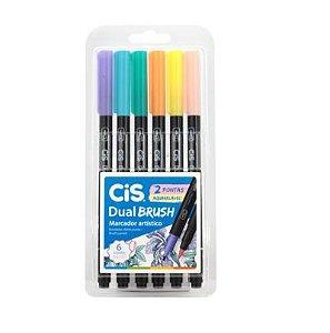 CIS Dual Brush Pastel Aquarelável 6 cores
