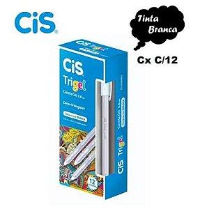 Caneta Gel CIS Trigel Branca 0.8 mm 12 un