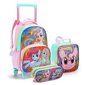 Kit Mochila Infantil com Rodinhas Sweet Pony com Lancheira e Estojo Duplo Rosa