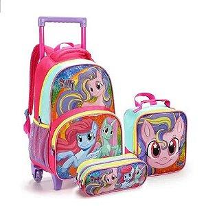 Kit Mochila Infantil com Rodinhas Sweet Pony com Lancheira e Estojo Duplo Chiclete