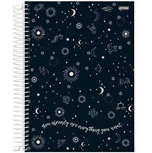 Caderno Universitário Mystic Preto 01 Matéria 80 folhas