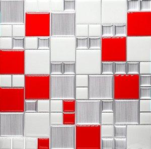 Revestimento Autoadesivo Resinado - Squares Red & Steel
