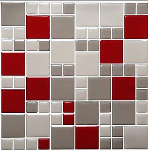 Revestimento Autoadesivo Resinado - Squares Ruby