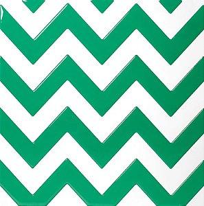 Revestimento Autoadesivo Resinado - Coleção Chevron - Branco e Verde
