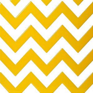 Revestimento Autoadesivo Resinado - Coleção Chevron - Branco e Amarelo