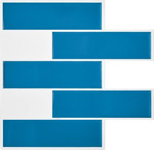 Revestimento Autoadesivo Resinado - Subway Blue Tiles