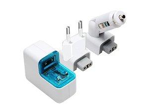 Carregador USB veicular e residencial 2 portas USB 5V 500mA - COMTAC - 9114