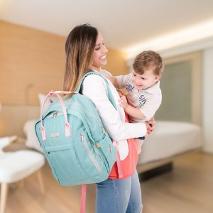 Bolsa Maternidade - Nylon - Azul Turquesa / Rosa