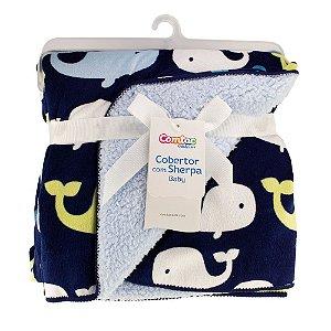 Cobertor Com Sherpa Baby Baleia Comtac Kids 4235