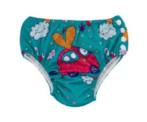 Calcinha de piscina com absorvente - pink car ( Tamanho 6 - 9 Meses )