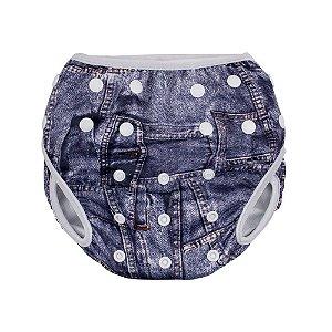 Fralda Ecológica Ajustável Com Botões Uso Diário Desfralde Piscina, Modelo Jeans