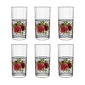 Conjunto 6 Copo Vidro Long Drink Liverpool Renda Flores 300ml Cisper