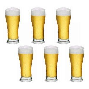 Conjunto 6 Copo Chopp Cerveja Vidro Pilsener 296ml Cisper