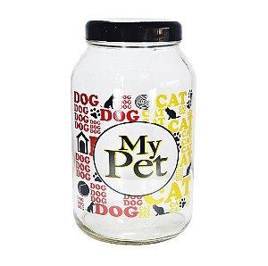 Porta Ração Vidro Tampa Preto Pet Cachorro Gato Personalizado