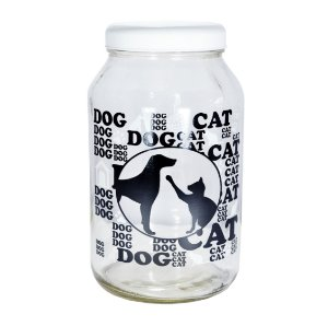 Porta Ração Vidro Tampa Branco Pet Cachorro Gato Personalizado