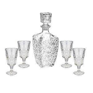 Conjunto Bohemia Licoreira E Taças Vidro Cisper 5 Peças Whisky