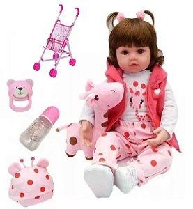 Boneca Bebê Reborn Menina Realista Larinha Girafa Rosa + Carrinho Dobravel 48cm Com 11 Acessórios