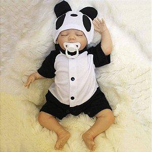 Boneca Bebê Reborn Real Realista Com Cabelo Menino Marcio Roupa Fantasia Panda Recém Nascido 45cm 6 Acessórios