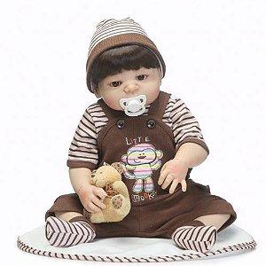 Boneca Bebê Reborn Real Realista Com Cabelo Menino Roupa Marrom 55cm 8 Acessórios