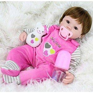 Boneca Bebê Reborn Real Realista Com Cabelo Menina Laurinha Olhos Castanho 42cm 6 Acessórios