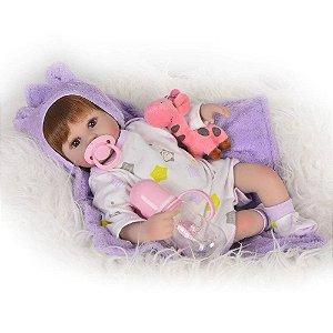Boneca Bebê Reborn Real Realista Com Cabelo Menina Alice Roupa Branca Lilás 40cm 8 Acessórios