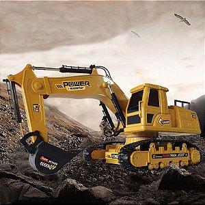 Escavadeira Trator Construção De Brinquedo Recarregável Controle Remoto Polietileno Giro 360 Alcance 20 metros