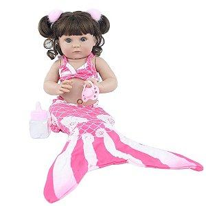 Boneca Sereia Bebê Reborn Menina Yara Corpo Silicone Pode Molhar Tomar Banho 40cm + Acessórios