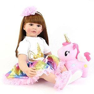 Boneca Bebê Reborn Real Realista 60 cm Menina Cabelo Grande Penteado Acessórios Unicórnio