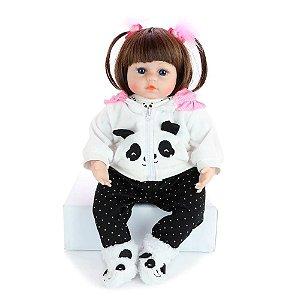 Bebê Reborn Real Realista 46cm Boneca Isabela Roupa Panda Presente Criança Acessórios