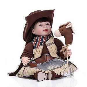 Boneca Bebe Reborn 55 cm Menina Ana 10 Acessórios Real Realista Roupa Cowboy Country