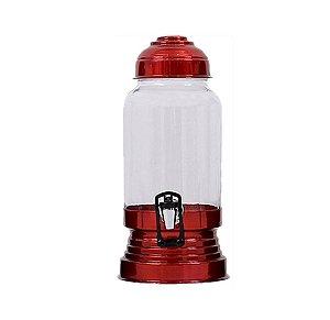 Suqueira 3,5L De Vidro Com Tampa E Suporte De Alumínio Vermelha