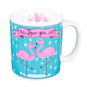 Caneca Flamingo Azul Frase I Love You Porcelana 300ml Presente Aniversário Brinde