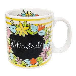 Caneca Personalizada Felicidade Porcelana 300ml Presente Aniversário Brinde