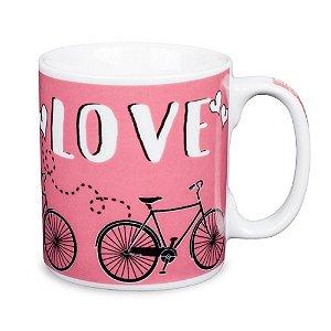 Caneca Bike Love Porcelana 300ml Presente Aniversário Brinde