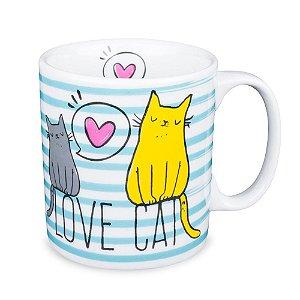 Caneca Love Cats Porcelana 300ml Presente Aniversário Brinde