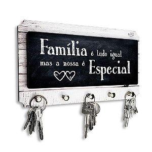 Porta Chaves E Cartas Decorativo Moderno Frase Família É Tudo Igual Mas A Nossa É Especial