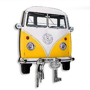 Porta Chaves Decorativo Personalizado Kombi Amarela 4 Chaveiros