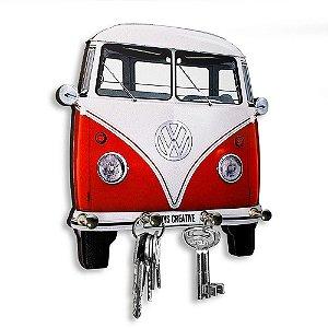 Porta Chaves Decorativo Personalizado Kombi Vermelha 4 Chaveiros