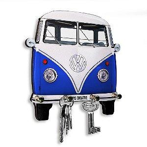 Porta Chaves Decorativo Personalizado Kombi Azul 4 Chaveiros