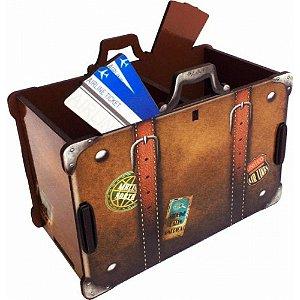 Porta Objetos Controle Remoto Acessórios Mala De Viagem Marrom